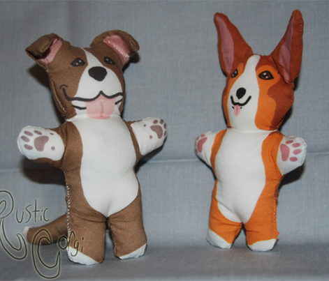Kawaii American Pitbull Terrier mini plushie - brown white