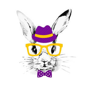 Hipster Purple Bunnies