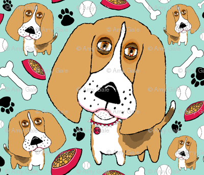 Beafus the Bad Boy Beagle, large scale, mint green brown tan