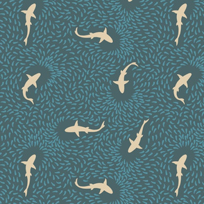 Sharks in a School (dark blue and beige)