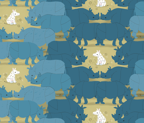 white rhino fabric by sanneteloo on Spoonflower - custom fabric