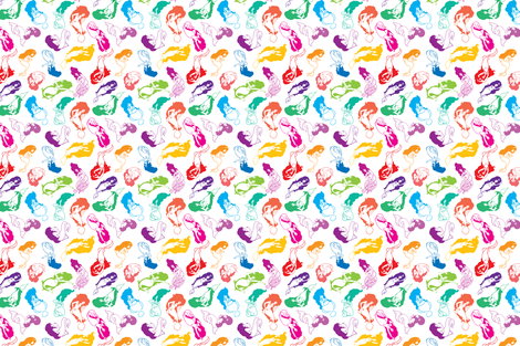 Mermaid Babes in Rainbow fabric by rosalarian on Spoonflower - custom fabric
