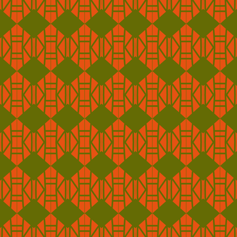 Diamonds Army Green Orange 1 fabric by eve_catt_art on Spoonflower - custom fabric