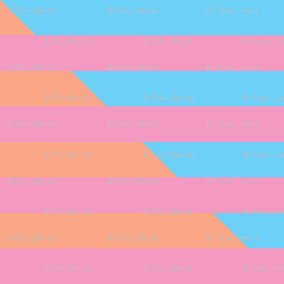 pink blue peach stripes triangle