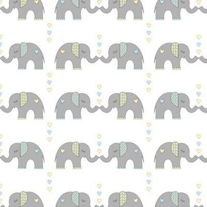Elephant Kisses: Blue + Yellow