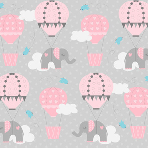 Hot Air Balloon Elephants on Gray