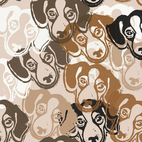 Beagles! - hand-carved design fabric by owlandchickadee on Spoonflower - custom fabric