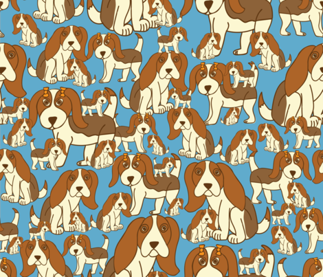 Baby Beagles in Blue fabric by honeyinthewild on Spoonflower - custom fabric