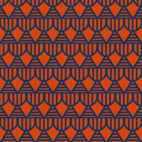 Shields and Stripes Blue Orange