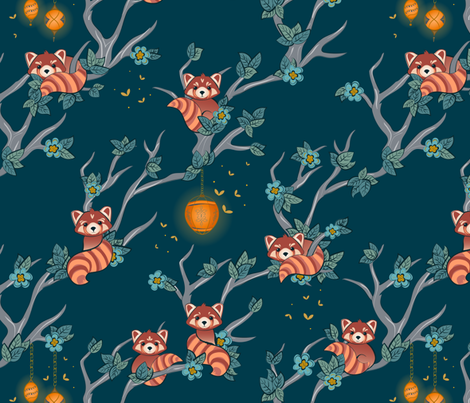 Red Pandas at Night large scale fabric by jennifer_todd on Spoonflower - custom fabric
