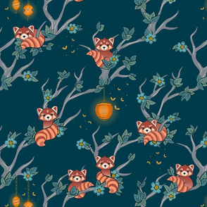 Red Pandas at Night large scale