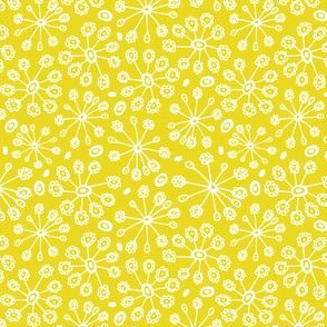 Dandy Blossom - Geometric Floral Citron Yellow - Spring Fling