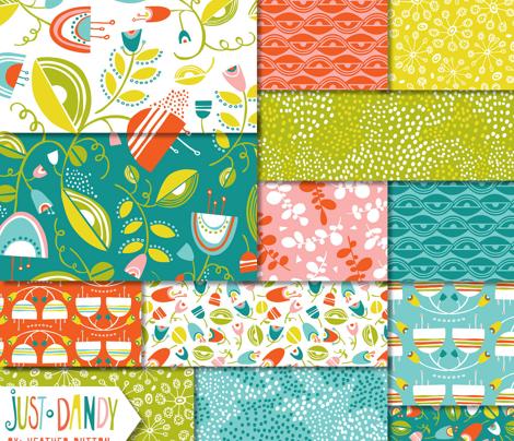 Dandy Blossom - Geometric Floral Green - Spring Fling
