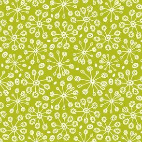 Dandy Blossom - Geometric Floral Green - Spring Fling