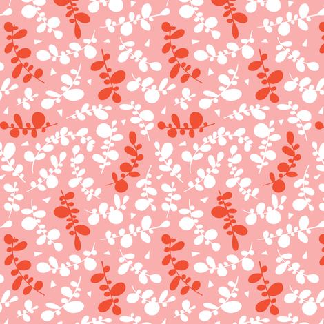 Sweet Pea - Geometric Leaves Spring Fling Pink  fabric by heatherdutton on Spoonflower - custom fabric
