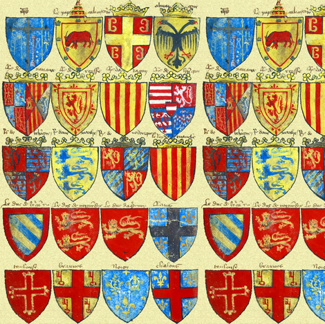 Knights of the Round Table ~ Bright  fabric by peacoquettedesigns on Spoonflower - custom fabric