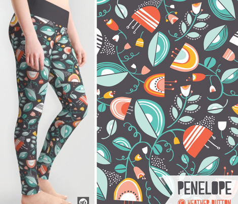 Penelope - Floral Charcoal Black Summer Breeze