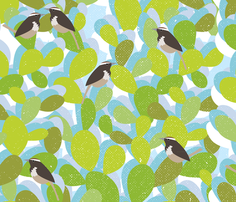 Cactus and Wrens fabric by owlandchickadee on Spoonflower - custom fabric