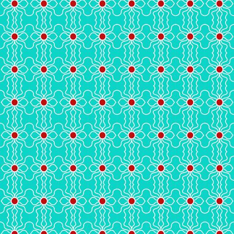 Flowers Wavy Aqua Red fabric by eve_catt_art on Spoonflower - custom fabric