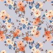 Roses in Auburn and Peach on Dove Grey for Desert Meadow Collection