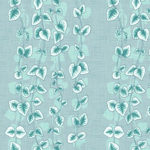Chain of Hearts Vine in Soft Teal Linen