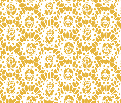 Bee Charmer - Crochet Lace Golden Yellow Large Scale fabric by heatherdutton on Spoonflower - custom fabric