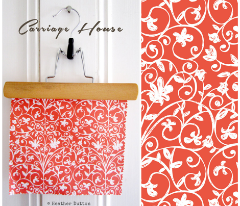 Carriage House - Floral Damask Red