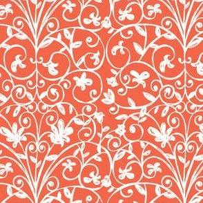 Carriage House Floral Damask Red