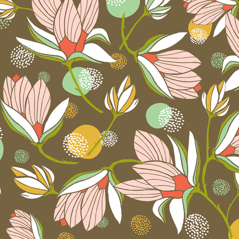 Magnolia Blossom - Floral Brown  fabric by heatherdutton on Spoonflower - custom fabric
