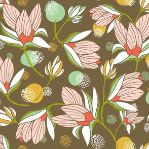Magnolia Blossom - Floral Brown
