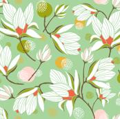 Magnolia Blossom Floral Mint Green