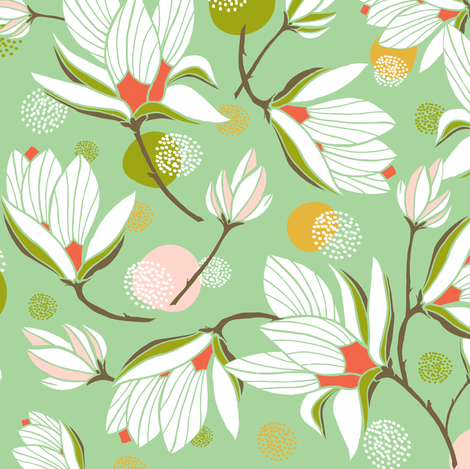 Magnolia Blossom - Floral Mint Green fabric by heatherdutton on Spoonflower - custom fabric
