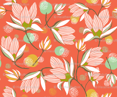 Magnolia Blossom - Floral Red