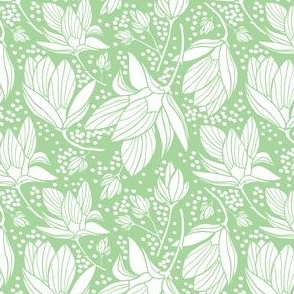 Magnolia Shower - Floral Mint Green