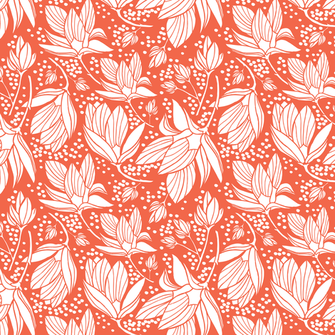 Magnolia Shower - Floral Red  fabric by heatherdutton on Spoonflower - custom fabric