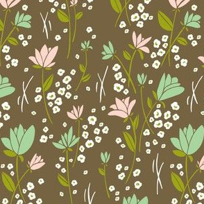 Skylark - Floral Brown  & Mint Green
