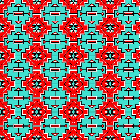 Turquoise Geo Stars fabric by pamelachi on Spoonflower - custom fabric