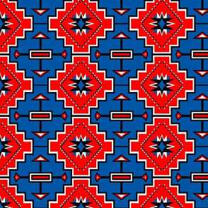 Red Blue Geometric Stars