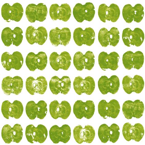 tiny apples - green on white fabric by weavingmajor on Spoonflower - custom fabric
