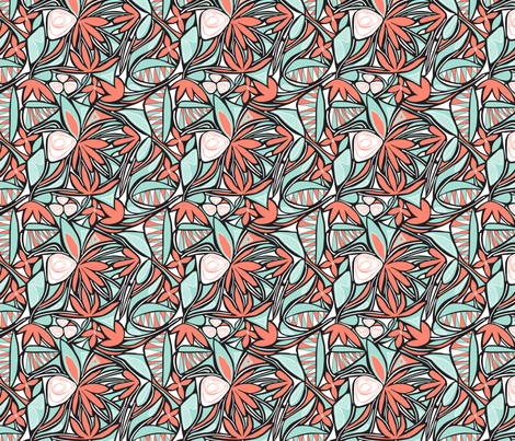 Floral Bliss (Coral and Mint) Small scale fabric by brendazapotosky on Spoonflower - custom fabric