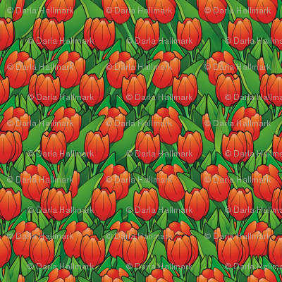 tulips waving in the wind