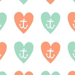 Love Anchor Big Print Orange and Aqua
