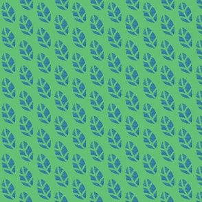 Blue Leaves on Green
