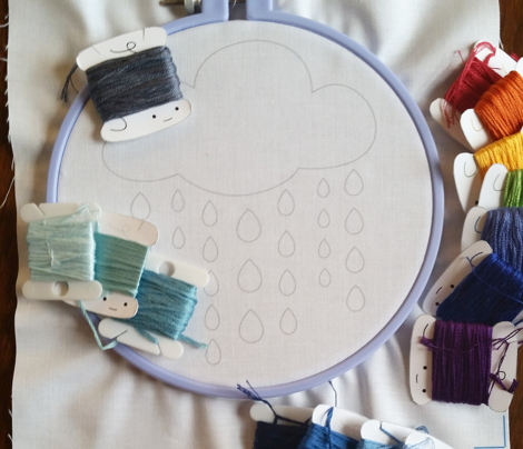 April Showers embroidery pattern