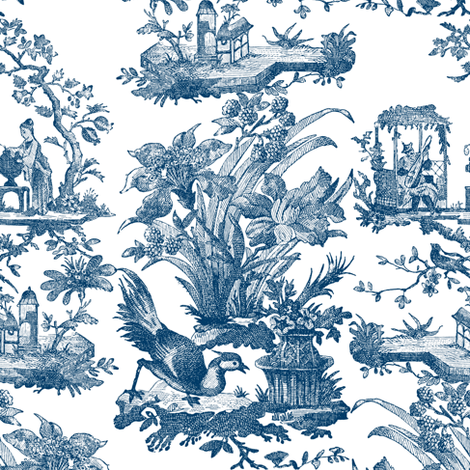Chinoiserie Toile ~ Lonely Angel Blue and White  fabric by peacoquettedesigns on Spoonflower - custom fabric