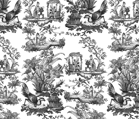 Chinoiserie Toile ~ Black and White  fabric by peacoquettedesigns on Spoonflower - custom fabric