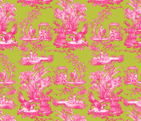 Chinoiserie Toile ~ Courtesan on Usurper  fabric by peacoquettedesigns on Spoonflower - custom fabric