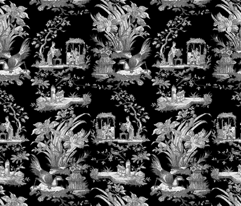 Chinoiserie Toile ~ Black and White on Black  fabric by peacoquettedesigns on Spoonflower - custom fabric