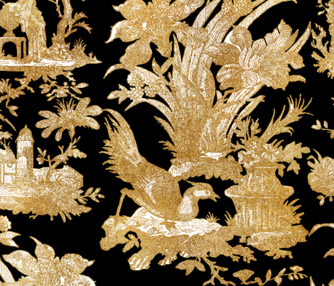 Chinoiserie Toile ~ Gilt on Black  fabric by peacoquettedesigns on Spoonflower - custom fabric
