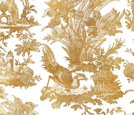 Chinoiserie Toile ~ Gilt on White  fabric by peacoquettedesigns on Spoonflower - custom fabric